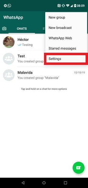 Access to WhatsApp Messenger's settings