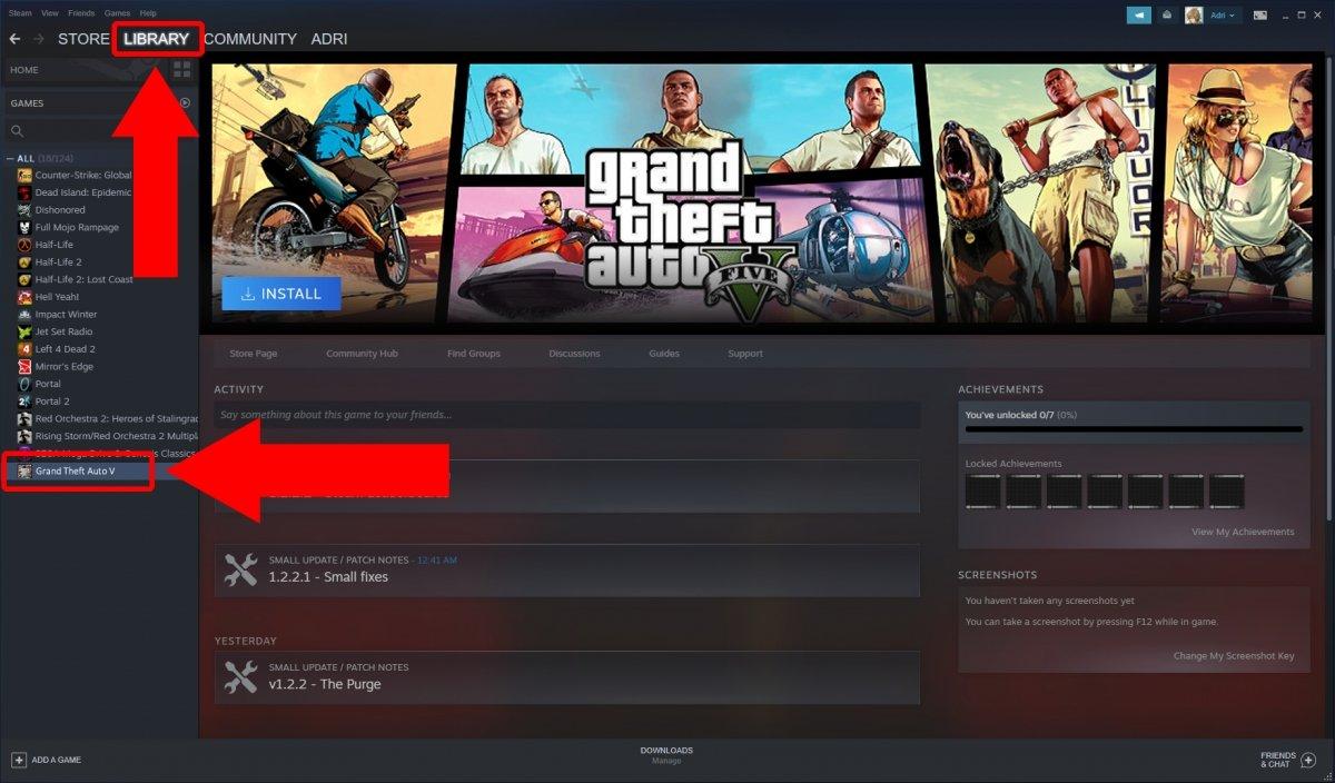Nous accédons à la bibliothèque et recherchons Grand Theft Auto V parmi les jeux installés