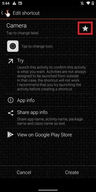 Добавить приложение или действие в избранное