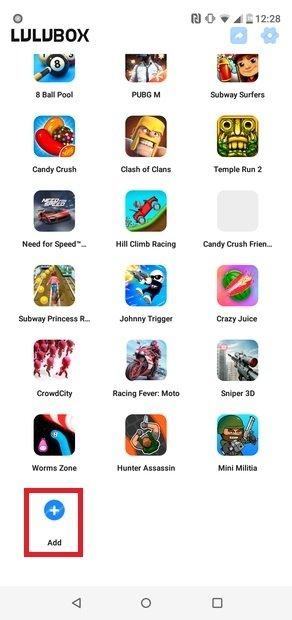 Botón Add para añadir juegos o apps