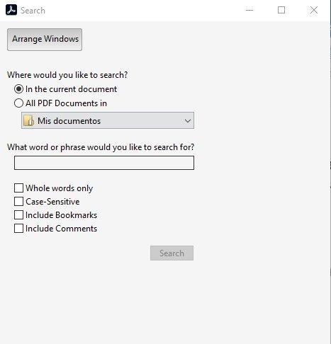 Recherche avancée d'Adobe Acrobat Reader