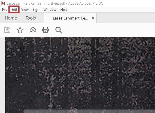 Barra de menú de Adobe Acrobat Reader