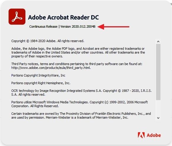 Número de versión de Adobe Acrobat Reader