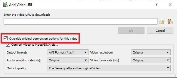 Opciones avanzadas al descargar un vídeo