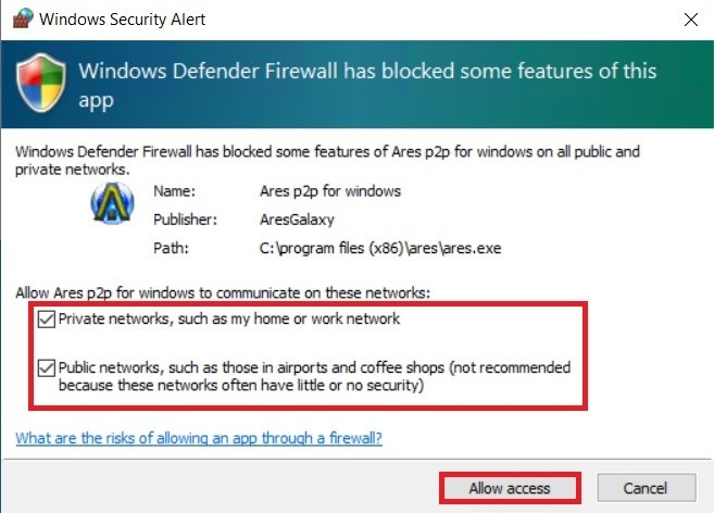 Allow an exception in the Windows Firewall