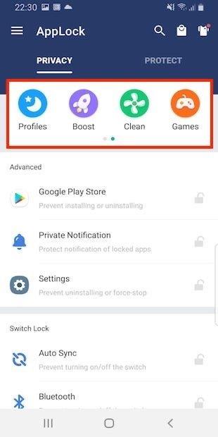 Pestaña Privacy de AppLock