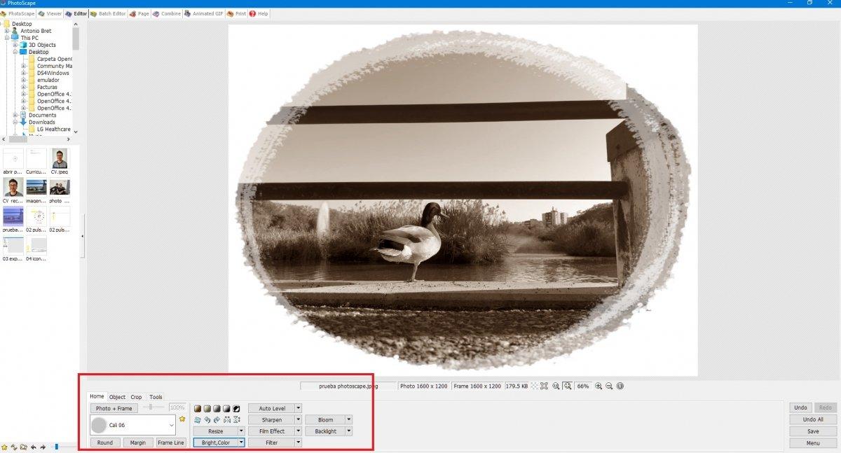 Aplicar filtros y marcos
