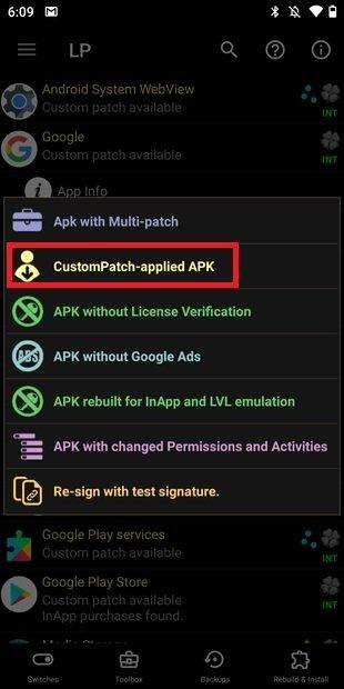 Applicare una patch personalizzata a un nuevo APK