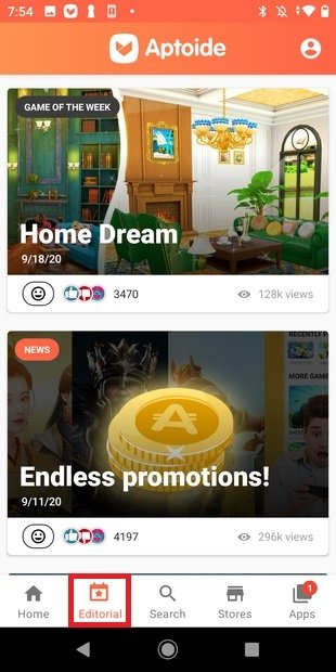 Aptoide's editorial section