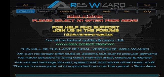 Interfaccia di Ares Wizard in Kodi per Android