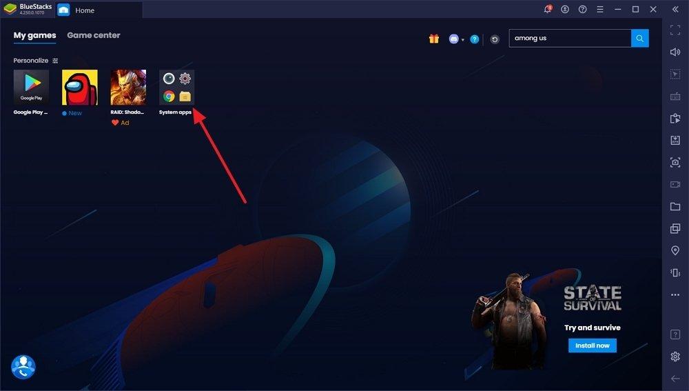 Page d'accueil de BlueStacks