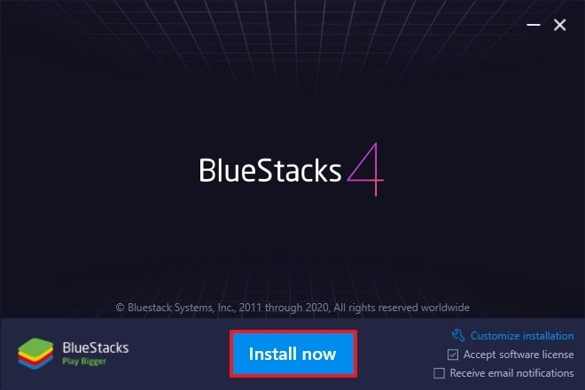 BlueStacks installation button