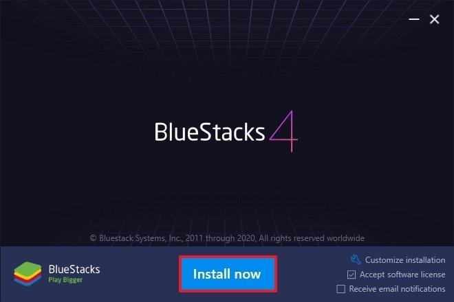 Instalador de BlueStacks