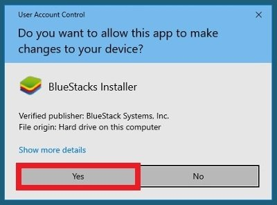 BlueStacks demande les autorisations pour s'installer sur Windows