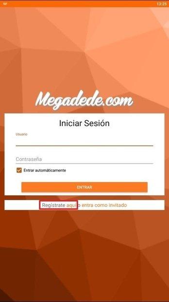 Botón de registro en Megadede