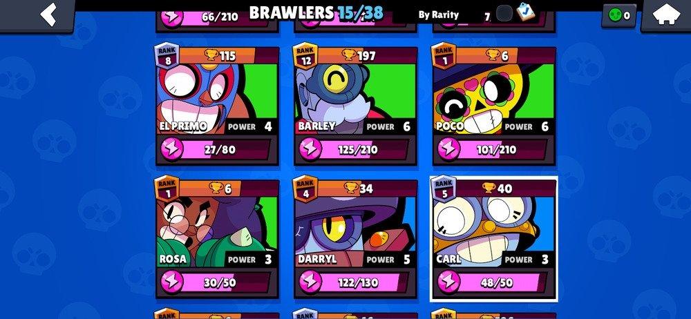 Pantalla de selección de brawlers