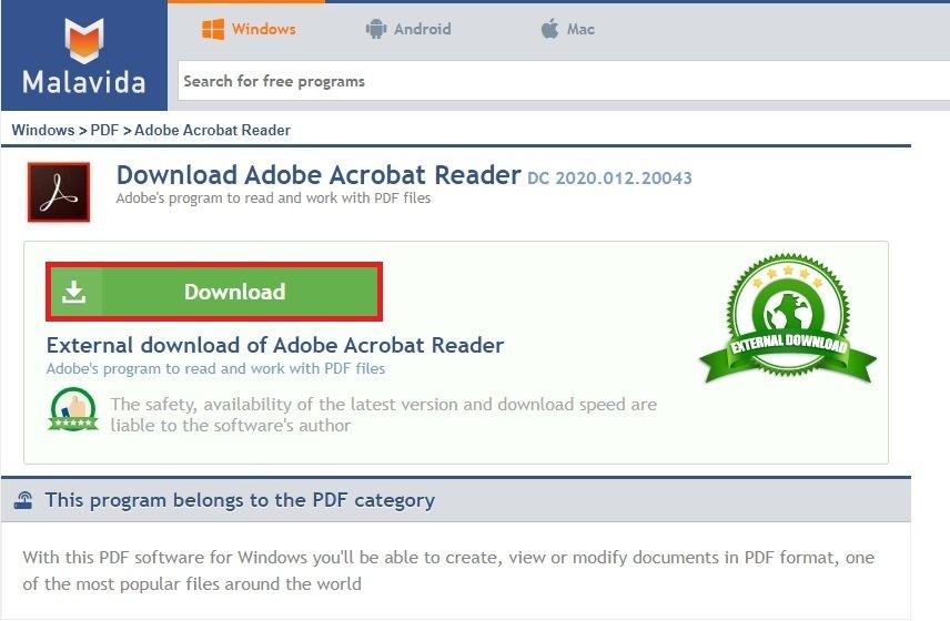 Téléchargement d'Adobe Acrobat Reader