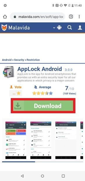 Button to download an app's APK from Malavida