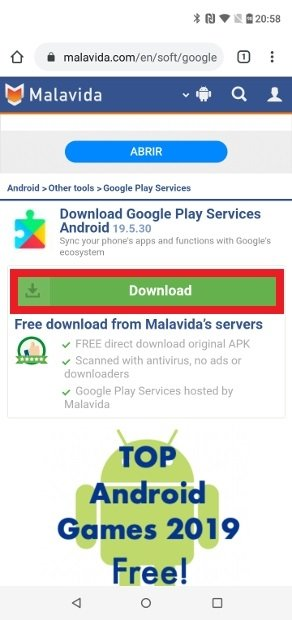 Button to download the Google Play Services APK