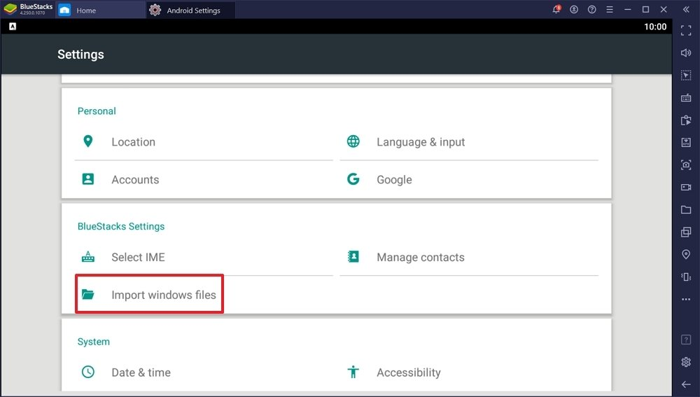 Botón para importar archivos desde Windows