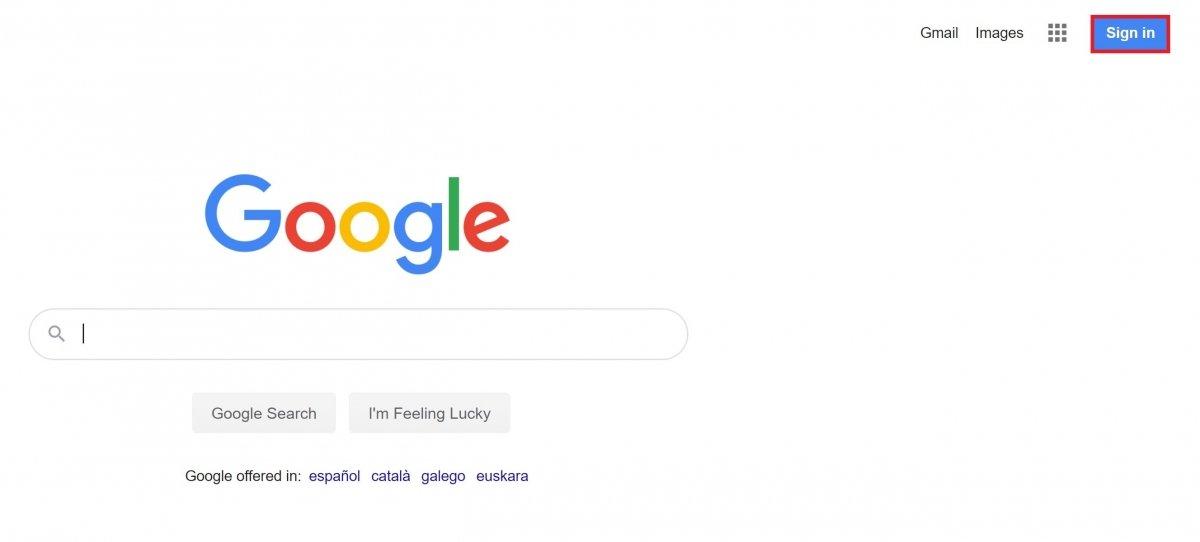 Botão para fazer login no site do Google