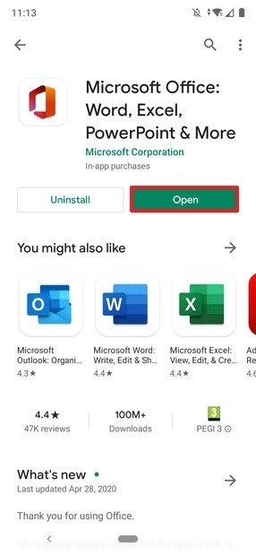 Botón de apertura de Office en Google Play