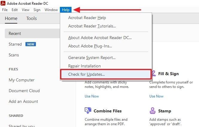 Botón para buscar actualizaciones en Adobe Acrobat Reader