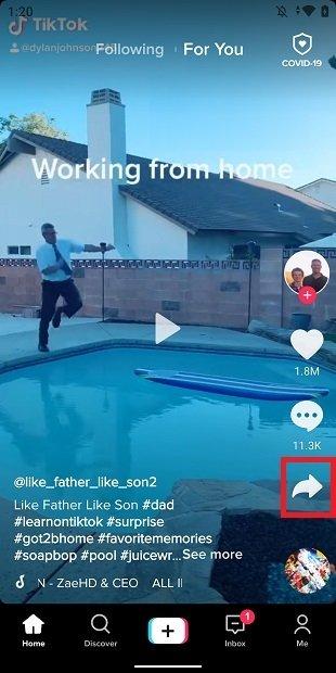 Button to share on TikTok