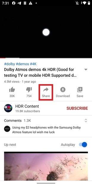 Botón para compartir vídeo
