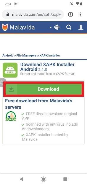 Button to start downloading XAPK Installer