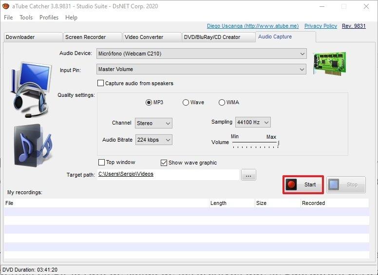 Botón para empezar a grabar audio