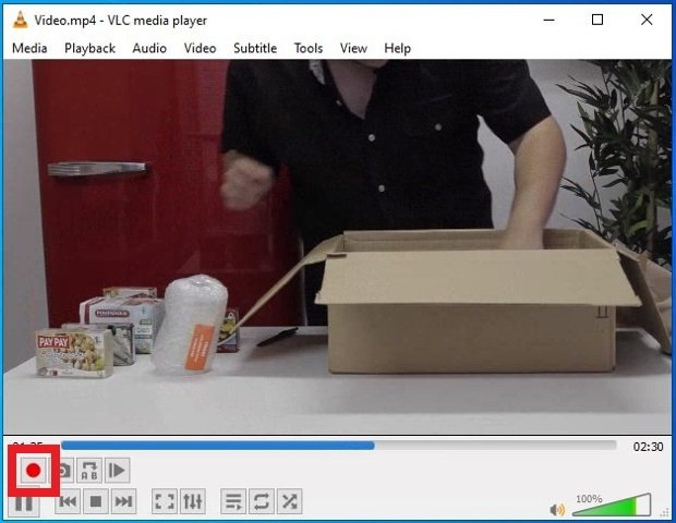 Button to start recording video in VLC