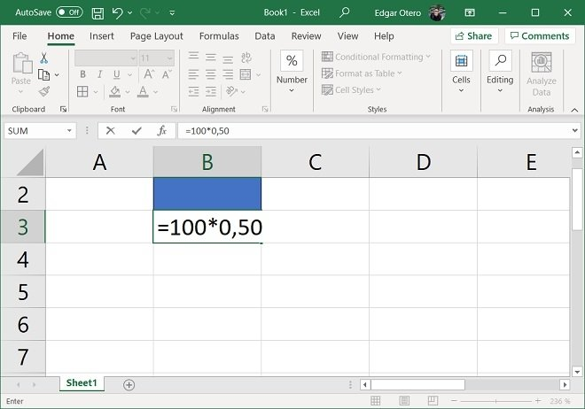 Calcular porcentaje sin celda numérica ni porcentual