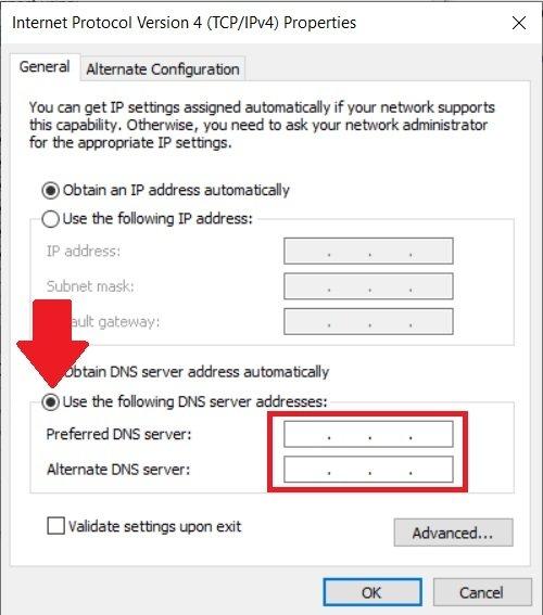 Changez le DNS de l'adaptateur