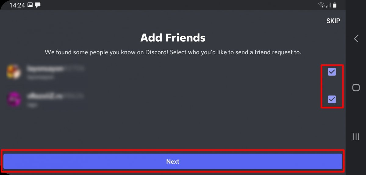 Check the boxes of the people you want to add and press Next