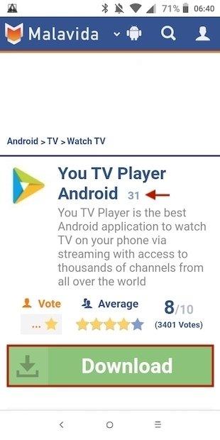 Check the version of the app on Malavida