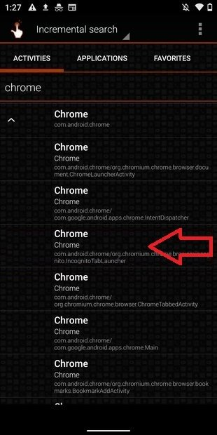 Escoger una función concreta de Chrome