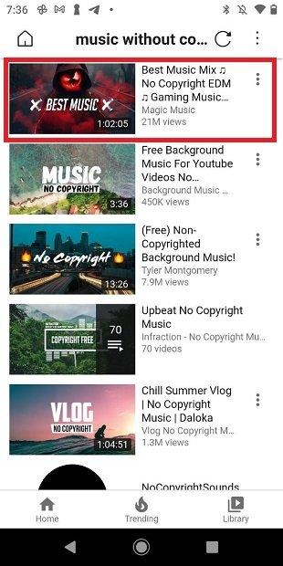 Seleccionar un vídeo en el listado