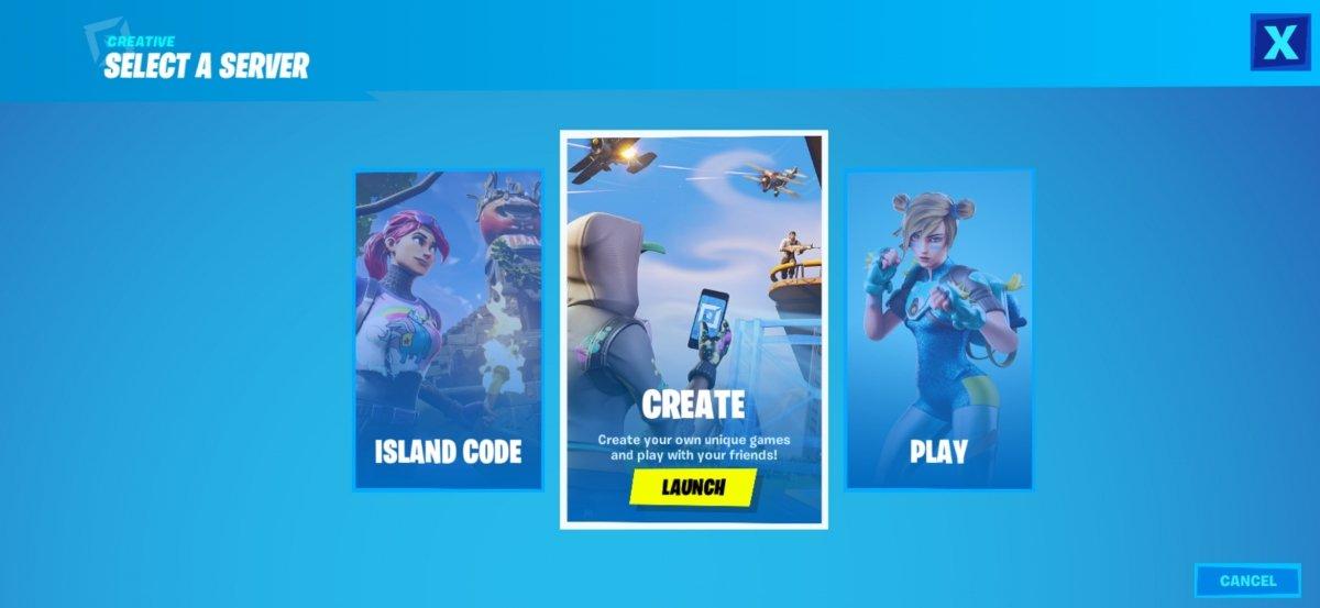 Seleccionamos entre Create, Play o Island Code
