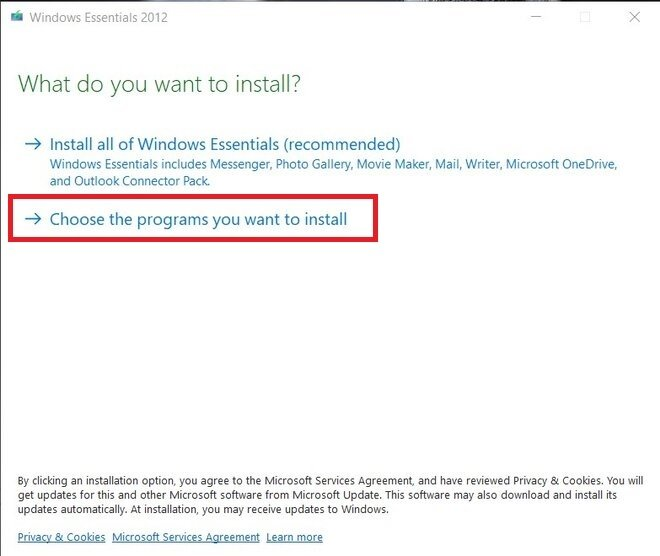 Choose programs during the installation