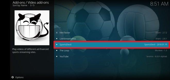 Parmi les modules complémentaires disponibles, choisis Sportsdevil
