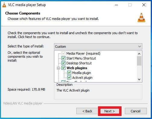 Choose the components for VLC's installation