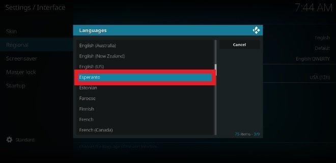 Seleziona la nuova lingua che desideri utilizzare