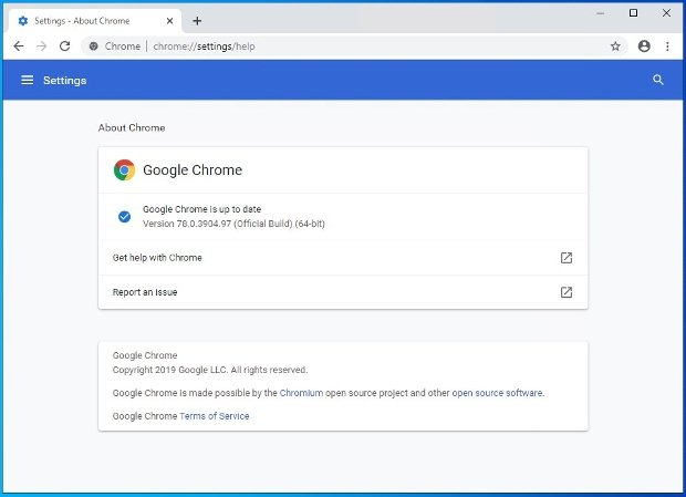 Chrome notifies you whether you have the software's latest version or not
