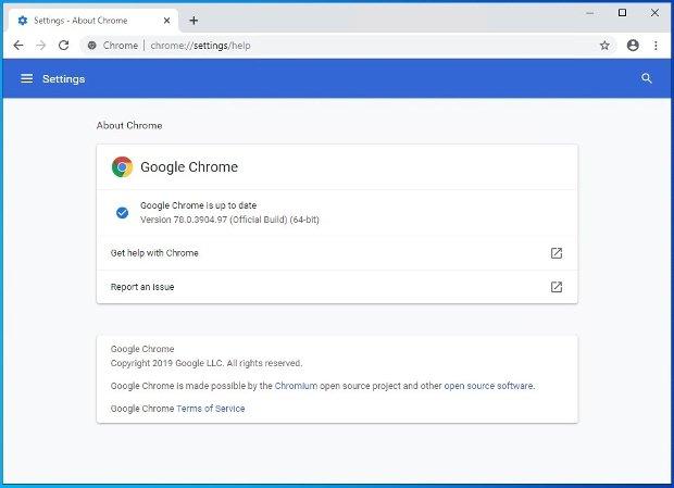 Chrome vous prévient si vous avez ou pas la dernière version du software