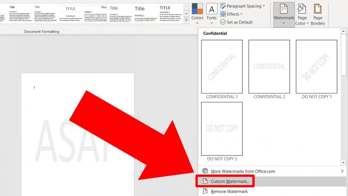 Klicke auf Custom Watermark, um den Text zu ändern