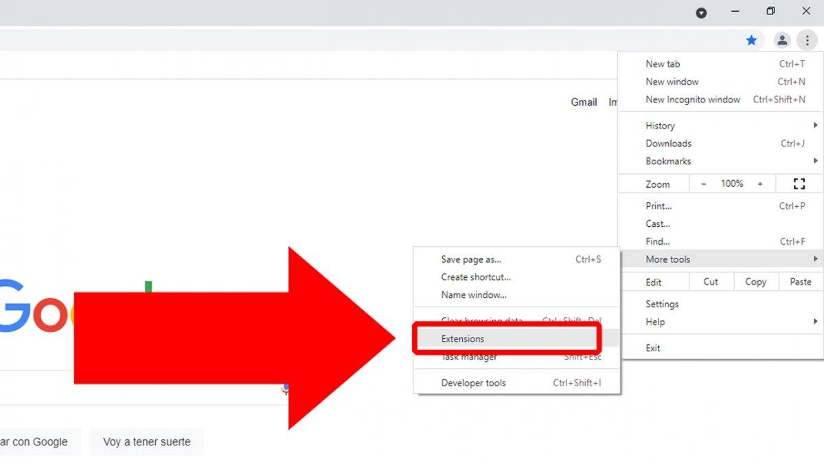 Fai clic su Extensions per accedere alle estensioni di Google Chrome