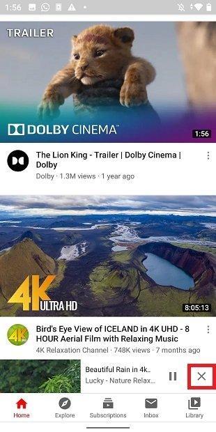 Cerrar vídeo en segundo plano