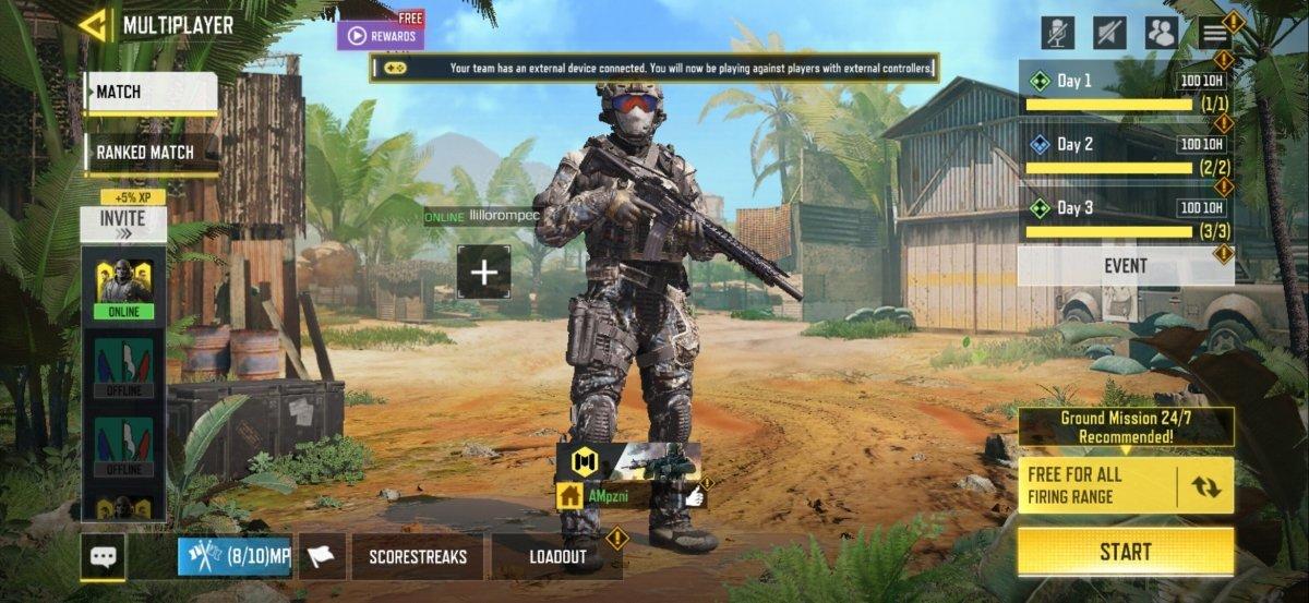 En COD Mobile se muestra un mensaje informándote de que estás jugando con mando