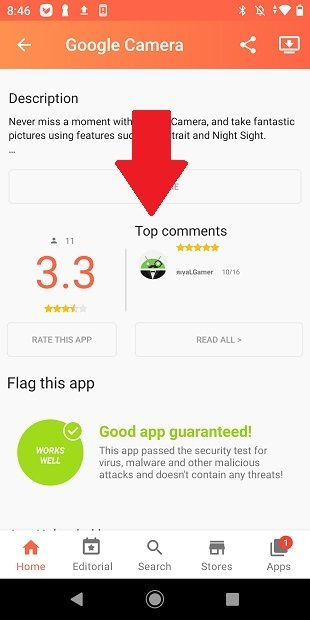 Comments and reviews about an app